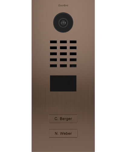 D2102BV Brushed Stainless Steel ∙ Flush-mounted ∙ Bronze Finish ∙ 2 Call buttons